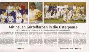 März 2016 -AZ Bericht - Gürtelprüfungen Judo