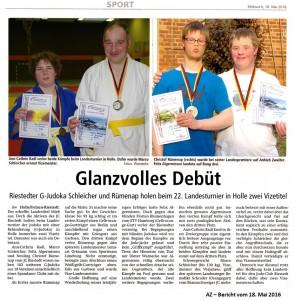 Mai 2016 - AZ- Bericht Vizetitel bei Landesmeisterschaften G-Judo